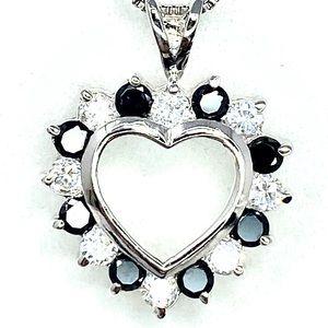 Sterling Silver 925 C.Z Heart Pendant & Chain